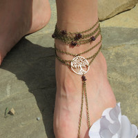 Pair Barefoot Sandals, Tree of Life, Tree, Gypsy, Boho, Slave Anklets, Slave Anklet, Barefoot Sandles, Foot Chain, Foot Jewelry, Anklet