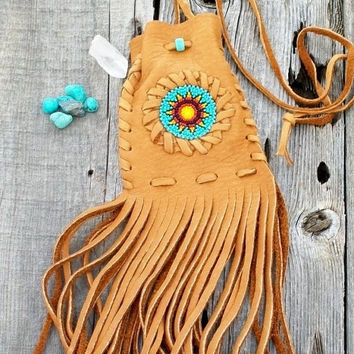 ON SALE Fringed leather bag , medicine bag , amulet bag , beaded leather bag , sunflower beadwork