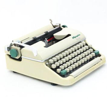 Vintage Typewriter, Manual typewriter ,Creamy color, Working Typewriter, Typewriter Olympia Monica 50s, Mid century typewriter,