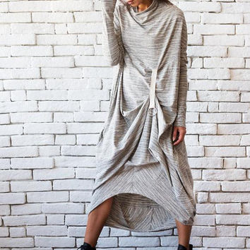 NEW Grey Loose Dress/Oversize Long Tunic/Long Sleeve Casual Dress/Asymmetric Long Top/Extravagant Metal Ring Dress/Grey Everyday Tunic Dress