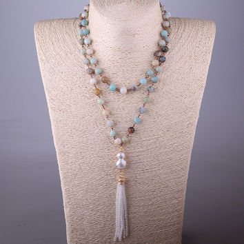Free Shipping Bohemian Jewelry Amazonite Stones Rosary Chain Pearl & Crystal Tassel Necklace For Women
