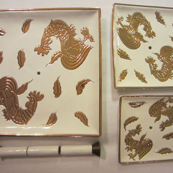 Italian Tiered Porcelain Serving Trays Signed Centerpiece Embossed Gold Roosters
