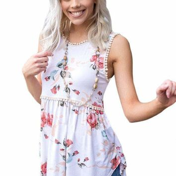 White Floral Pompom Lace Trim Flowy Tank Top
