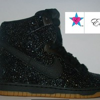 Jet Black Mini Rhinestone Nike Dunk Wedge Sneakers