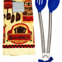 Kitchen Towel Bon Appetit Bistro 15x25 Blue Silicone Stainless Spoon Gift Set 3