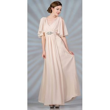 Long Chiffon Grecian Champagne Dress Mid Length Sleeves V Neck