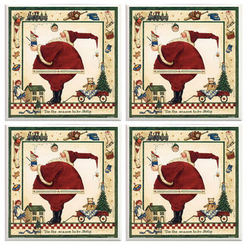 Christmas Coasters, Christmas Decor, Holiday coasters, Santa, Red and green coasters, ceramic tiles,  Santa Claus Decor, Saint Nicholas
