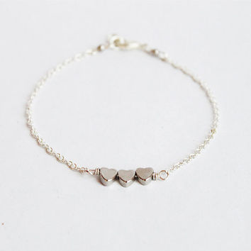Triple tiny hearts bracelet - silver chain trio beaded simple friendship layering thin modern minimalist dainty everyday jewelry