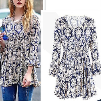 Women's Fashion Round-neck Long Sleeve Print Stylish Floral Shirt Bottoming Shirt [6338992257]