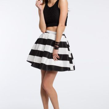 Two Piece Lace with Striped Skirt