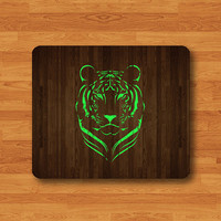 Mint Green Tiger Silhouette Wooden Mouse Pad Desk Pad WIld Animal Art MousePad Personalized Rectangle Pad Matte Office Gift Computer Pad