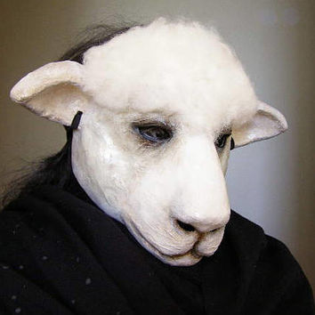Sheep mask Masquerade mask Animal mask Paper mache sheep mask Scary mask