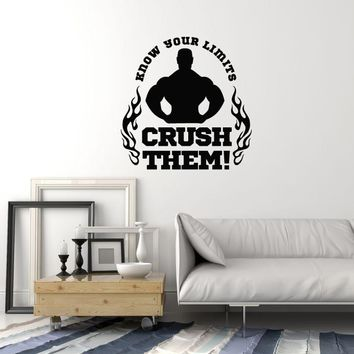 Vinyl Wall Decal Bodybuilding Motivating Quote Phrase Gym Fitness Center Stickers Mural (ig5445)
