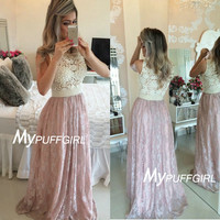 Ivory / Pink Sheer Lace Bodice Long Prom Dress With Pearls