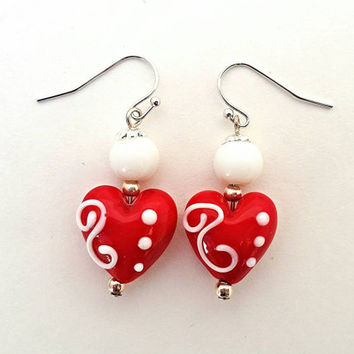 Heart earrings,  valentine's day jewelry, gifts for her, valentine's day earrings, gifts for wife, lamp work hearts, lamp work jewelry