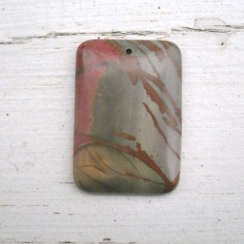 Picture Jasper Semi Precious Pendant Bead, natural color tones and low polish,  see nature in a beautiful stone, drilled, DIY jewelry stone