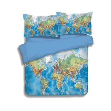 Luxury World Map Bedding Set Vivid Printed Blue Bed Cover Twill Cozy cotton duvet cover set king full Sizes 3/4pcs bed linen