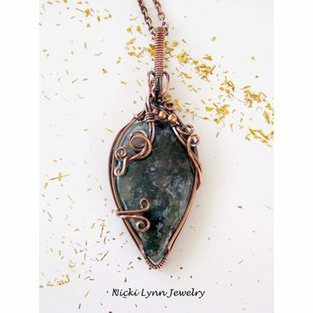 Copper Wire Wrapped Teardrop Moss Agate