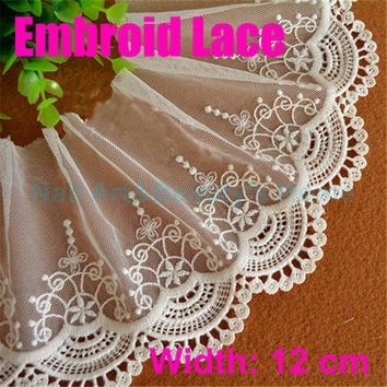 12cm width embroid sewing ribbon guipure lace trim or fabric warp knitting DIY Garment Accessories free shipping#2636