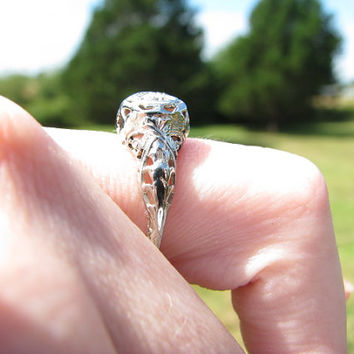 Art Deco 18K White Gold Diamond Engagement Ring - Fiery Old European Cut Diamond - Pretty Filigree