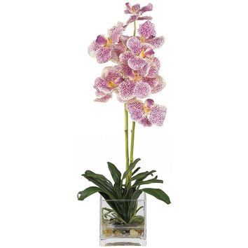 Silk Flowers -Purple Vanda With Glass Vase Flower Arrangement Artificial Plant