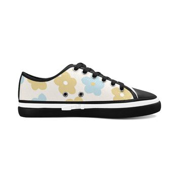 Yellow Floral Theme Black Women's Nonslip Canvas Shoes