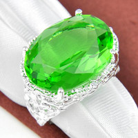 Half Dozen 6 Pieces 1 lot Unique Party Jewelry Fire Green Quartz Crystal Gemstone Russia 925 Sterling Silver Plated USA Weddiing Party Ring