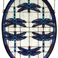 22 Inch W X 30 Inch H Dragonflies Oval Stained Glass Window