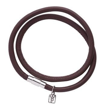 Waxing Poetic Nestle Double Wrap Leather Bracelet Saddle Brown