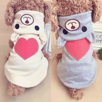 Pet Dog Clothes For Small Dogs Cotton Puppy Coat Hoodies Outfit for Dogs Winter Clothes Pajamas Love Bear Costume Dog Supply 35