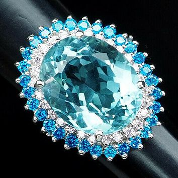 Vintage 13.35CT Oval Cut Blue Aquamarine Halo Blue Apatite Ring