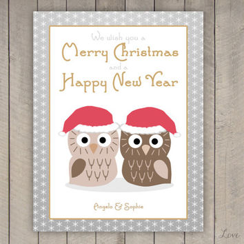 Personalized Christmas card - owl