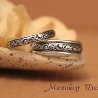 Narrow and Wide Floral Tendril and Vine Pattern Wedding Band Set in Sterling Silver - Commitment Band Set - Promise Band Set