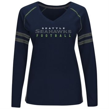 Seattle Seahawks Majestic Women's Deep Fade Route Long Sleeve T-Shirt – Navy Blue