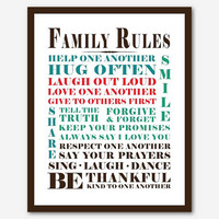 Family Rules - Family Wall Art - Room Decor - Subway Art - Typography -11 x 14 print - Multi Color or your choice of background