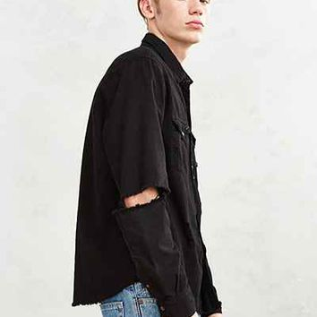 CPO Overdyed Damaged Denim Western Shirt - Urban Outfitters