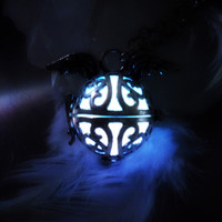 Angel Wings Glow in the Dark Sterling Silver Plated Locket Necklace Pendant