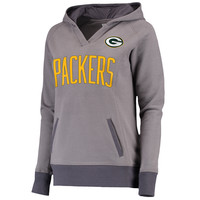 Women's Green Bay Packers Pro Line Gray Plus Size Portola V-Neck Hoodie