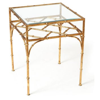 Woodmont Glass-Top Side Table, Gold, Standard Side Tables