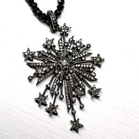 diamond starburst pendant, diamond star pendant black silver, big diamond cross pendant, gothic wedding jewelry, star necklace diamond