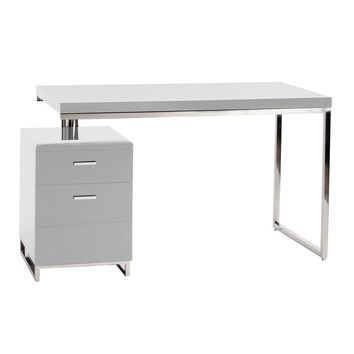 Martos Desk White Lacquered Brushed Stainless Steel