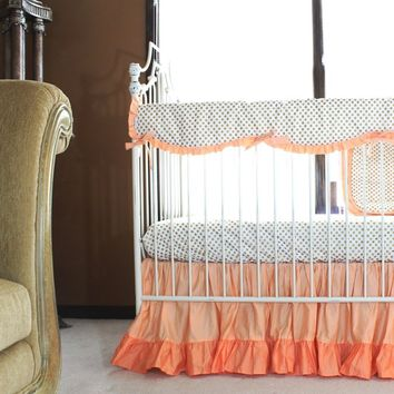 Molly's Gold Dots and Coral Ruffle Crib Bedding Set | Daybed Bedding