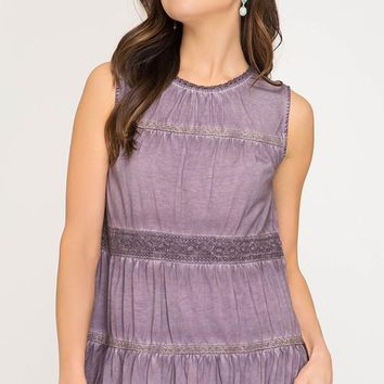 Sleeveless Garment Dyed Knit Top - Dusty Mauve