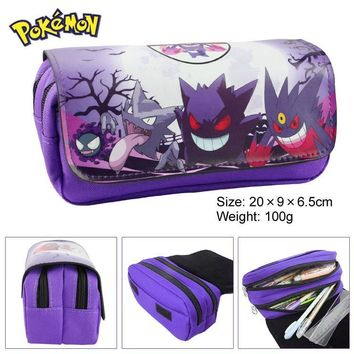 Go Gengar team Pencil Case Classic Game Animated Cartoon 2 Layer Large Capacity Pencil Bag Kids Gift Stationery SuppliesKawaii Pokemon go  AT_89_9