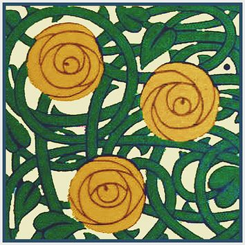 Art Nouveau 3 Gold Roses By Talwin Morris  Arts and Crafts Style Counted Cross Stitch Pattern