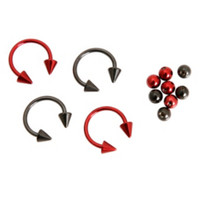 "16 Gauge Red Black 3/8"" Steel Circular Barbell 4 Pack"