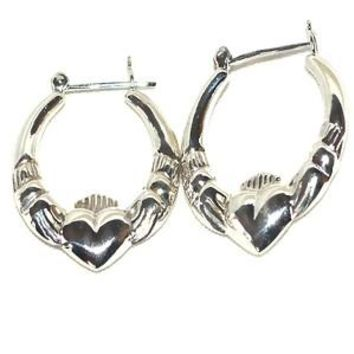 Sterling Silver Pair Shrimp Celtic Claddagh Lover Earrings