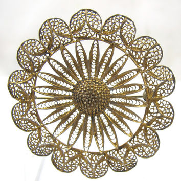 Vintage Filigree Brooch Silver Vermeil Large Flower Open Work Design 2 Inches Lacey Filigree