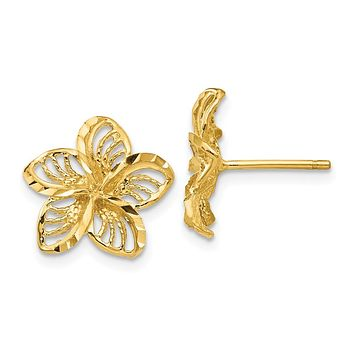 12mm Diamond Cut Filigree Plumeria Post Earrings in 14k Yellow Gold