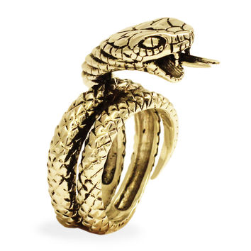 Bronze King Cobra Ring - Hissing Snake with Pointed Tongue